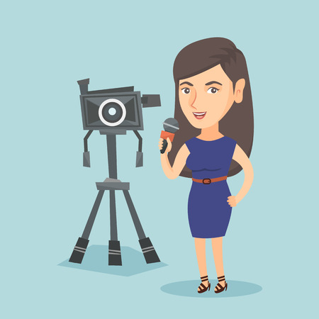 Caucasian reporter with a microphone standing on the background of camera. Illustration
