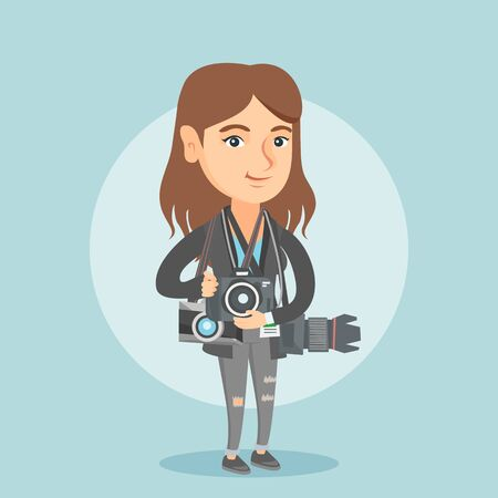 Young caucasian female photographer standing with cameras.