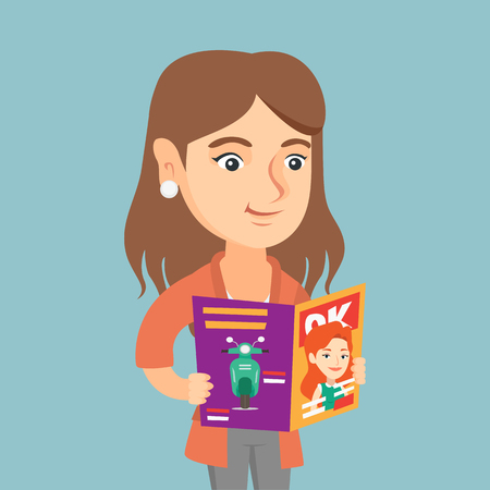Caucasian woman reading a magazine. Young woman standing with a magazine in hands. Woman holding a magazine. Smiling woman reading good news in a magazine. Vector cartoon illustration. Square layout.  イラスト・ベクター素材