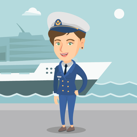 Caucasian female ship captain standing on the background of sea and cruise ship. Young smiling ship captain in uniform standing on the seacoast background.