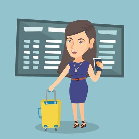 Young Caucasian airplane passenger waiting for a flight at the airport and holding passport. Happy woman standing at the airport with suitcase and passport. Illustration
