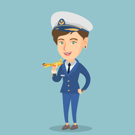 Young Caucasian airline pilot holding the model of airplane in hand. Cheerful female airline pilot in uniform. Illustration