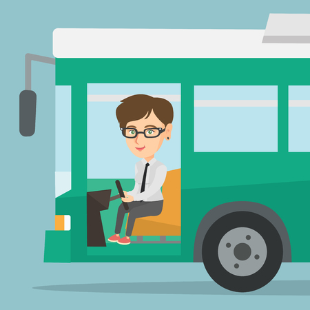 Young Caucasian bus driver sitting at steering wheel. Female bus driver driving a passenger bus. Illustration