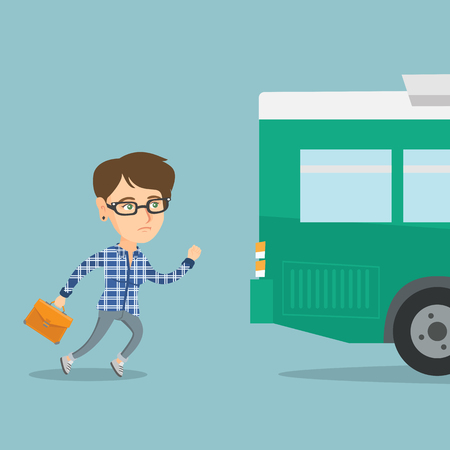 Caucasian business woman running for an outgoing bus. Young business woman chasing a bus.