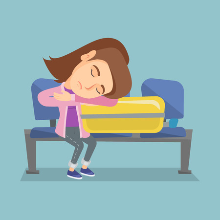 Tired Caucasian passenger sleeping on a suitcase at the airport. Young exhausted woman waiting for a flight and sleeping on a suitcase at the airport. Illustration