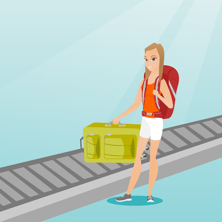 Happy caucasian passenger picking up suitcase from luggage conveyor belt at the airport. Young cheerful passenger taking her luggage from conveyor belt. Vector cartoon illustration. Square layout.