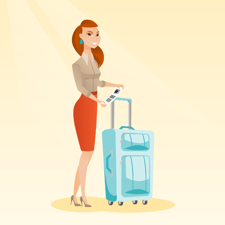 Happy business class passenger standing near suitcase and holding priority luggage tag. Young smiling caucasian business woman showing travel insurance tag. Vector cartoon illustration. Square layout.