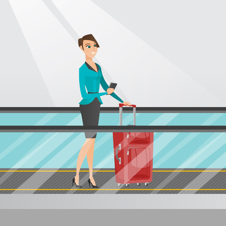 Young caucasian business woman using smartphone on escalator at the airport. Business woman standing on escalator with suitcase and looking at smartphone. Vector cartoon illustration. Square layout.