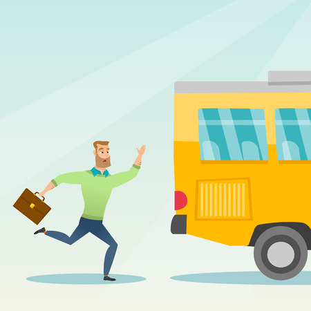 Young hipster businessman with beard chasing a bus. Caucasian businessman running for an outgoing bus. Latecomer businessman running to reach a bus. Vector cartoon illustration. Square layout. Ilustracja
