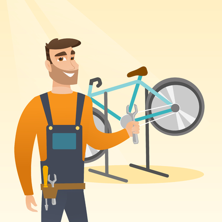Caucasian bicycle mechanic showing spanner on the background of broken bicycle. Happy technician fixing bicycle in repair shop. Mechanic repairing bicycle. Vector cartoon illustration. Square layout.