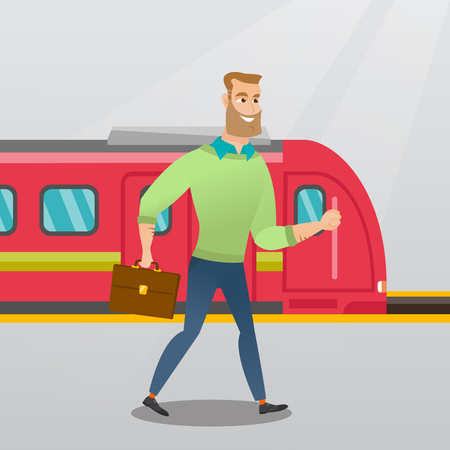 Young caucasian businessman walking on railway station platform on the background of train. Happy hipster businessman with briefcase going out of the train. Vector cartoon illustration. Square layout. Çizim