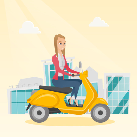 Mujer caucásica joven que monta un scooter al aire libre. Sonriente mujer de negocios que viaja en un scooter en la ciudad. Mujer feliz disfrutando de su viaje en una moto. Ilustración de dibujos animados de vector. Diseño cuadrado Vectores