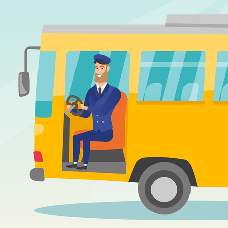 Young caucasian bus driver sitting at steering wheel. Hipster bus driver with beard driving a passenger bus. Smiling bus driver sitting in the driver cab. Vector cartoon illustration. Square layout.