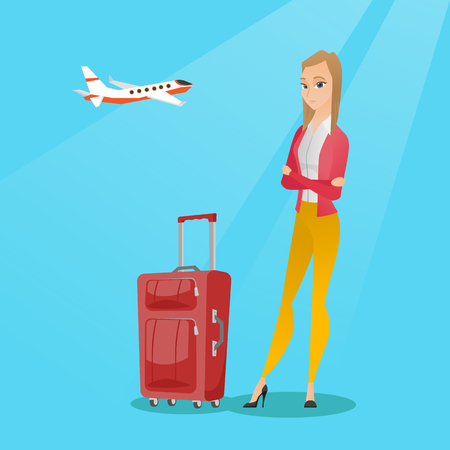 terrified: Young caucasian airplane passenger frightened by future flight. Woman suffering from fear of flying. Terrified passenger with suitcase waiting for a flight. Vector cartoon illustration. Square layout.