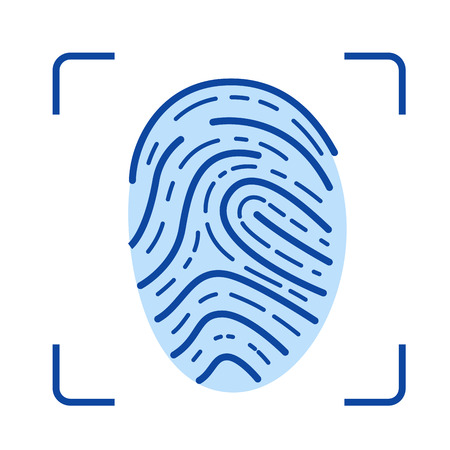 Fingerprint scanner line icon isolated on white background. Fingerprint scanner line icon for infographic, website or app. Blue icon designed on a grid system.
