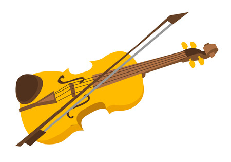 Wooden violin with bow vector cartoon illustration isolated on white background.