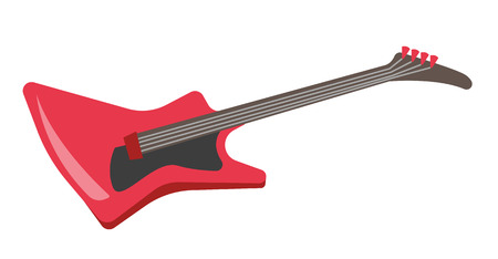 Red electric guitar vector cartoon illustration isolated on white background.