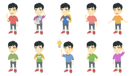 Little asian boy set. Boy showing victory gesture, ok sign, crying, pointing finger at lightbulb, giving thumb up, crying. Set of vector sketch cartoon illustrations isolated on white background. Illustration