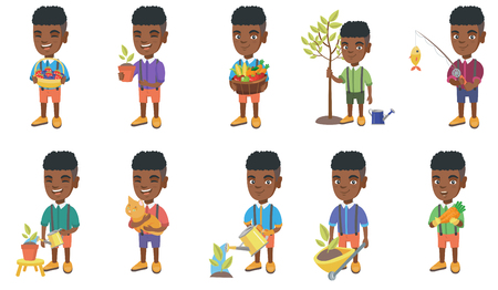 Little african-american boy set. Boy holding the basket with strawberry, blueberry, fruit, vegetables, watering plant, planting a tree. Set of vector cartoon illustrations isolated on white background
