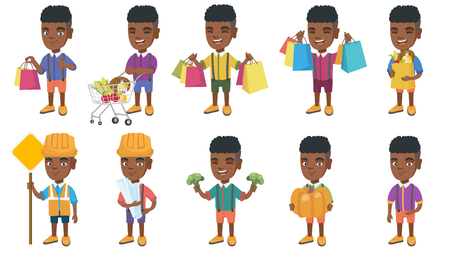 Little african-american boy set. Boy holding shopping bag with groceries, stroking pig, wearing builder costume and holding road sign. Set of vector cartoon illustrations isolated on white background. Illustration