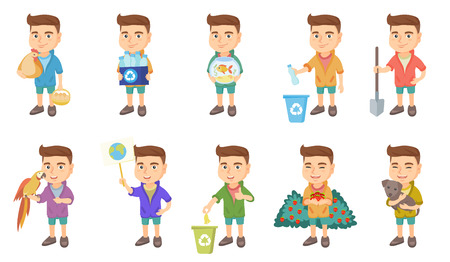 Little caucasian boy set. Boy throwing plastic bottle, banana peel in recycle bin, holding a shovel, pet parrot, small dog. Set of vector sketch cartoon illustrations isolated on white background. Illustration