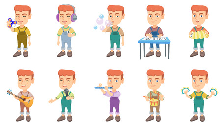 Little caucasian boy set. Boy blowing soap bubbles, playing the piano, accordion, acoustic guitar, flute, drum, tambourine. Set of vector sketch cartoon illustrations isolated on white background. Illustration