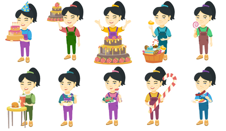 Little asian girl set. Girl drinking soda, eating cheeseburger, vegetable salad, christmas candy cane, sausage and fried egg. Set of vector sketch cartoon illustrations isolated on white background.