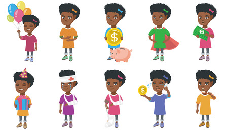 Little african-american girl set. Girl putting a coin into a piggy bank, holding money, crying because of broken arm and injured head. Set of vector cartoon illustrations isolated on white background.