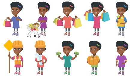 Little african-american girl set. Girl holding broccoli, pumpkin, pushing shopping trolley with groceries, wearing builder costume. Set of vector cartoon illustrations isolated on white background.