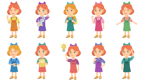 Little caucasian girl set. Girl holding toy rabbit, textbook, carrying a backpack on her shoulders, laughing, scratching head. Set of vector sketch cartoon illustrations isolated on white background.