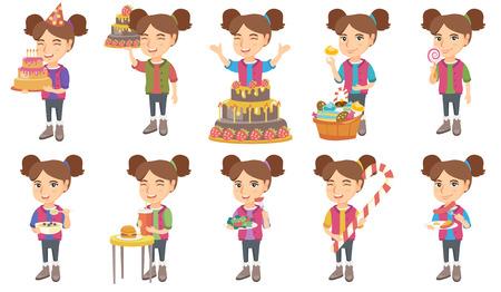 Kleines kaukasisches Mädchenset. Mädchen, das Geburtstagskuchen mit Kerzen, Lutscher, Brei mit Blaubeeren essend hält und trinken Soda. Satz Vektorskizze-Karikaturillustrationen lokalisiert auf weißem Hintergrund. Standard-Bild - 88676311