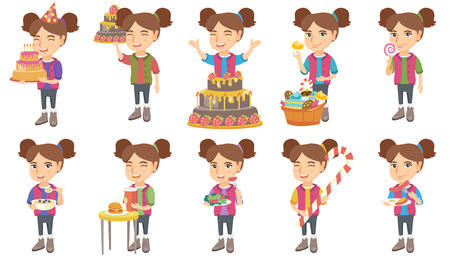 Little caucasian girl set. Girl holding birthday cake with candles, lollipop, eating porridge with blueberries, drinking soda. Set of vector sketch cartoon illustrations isolated on white background. Ilustracja