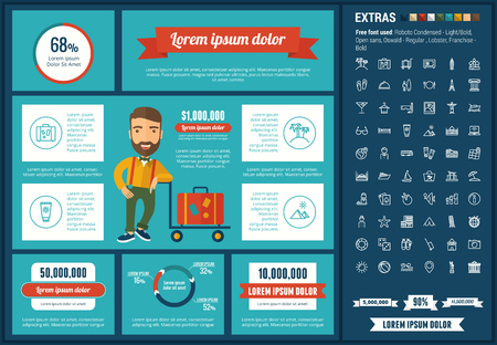 Travel infographic template and elements. The template includes illustrations of hipster men and huge awesome set of thin line icons. Modern minimalistic flat vector design. 向量圖像