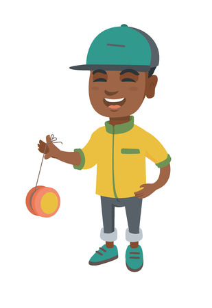 African-american boy playing with yo-yo. Stock Vector - 88904487
