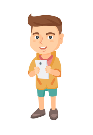 Caucasian boy using a smartphone. Little boy with smartphone. Boy addicted to his smartphone. Smiling boy playing game on mobile phone. Vector sketch cartoon illustration isolated on white background.
