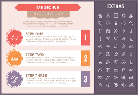Medicine infographic timeline template, elements and icons. Infograph includes step number options, line icon set with medical stethoscope, disable person, hospital doctor, nurse, first aid kit etc.