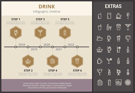 Drink infographic timeline template, elements and icons. Infograph includes step number options, line icon set with bar drinks, alcohol beverage, variety of glasses, non-alcoholic beverages etc.
