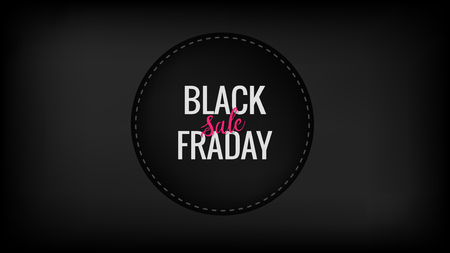 Black friday sale round promotion banner with hand lettered element on the black background. Discount, business, shopping, promotion and advertising concept. Vertical design with copy space.