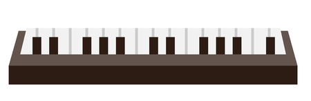 Piano keyboard vector cartoon illustration isolated on white background. Çizim