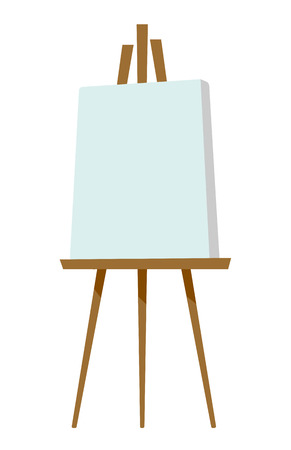 artboard: Easel with blank canvas vector cartoon illustration isolated on white background.