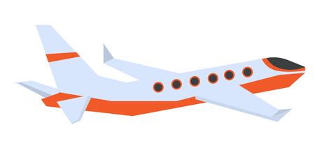 Commerciële vector het beeldverhaalillustratie van het passagiersvliegtuig op een witte achtergrond. Stock Illustratie