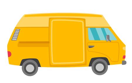 Yellow van vector cartoon illustration isolated on white background. Vectores