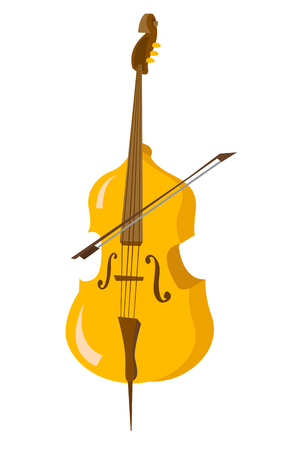 Classic cello with bow vector cartoon illustration isolated on white background. Illustration