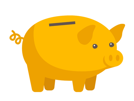 Yellow piggy bank vector cartoon illustration isolated on white background.