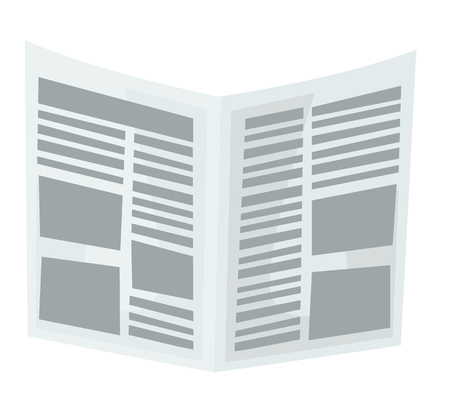 Newspaper vector cartoon illustration isolated on white background.