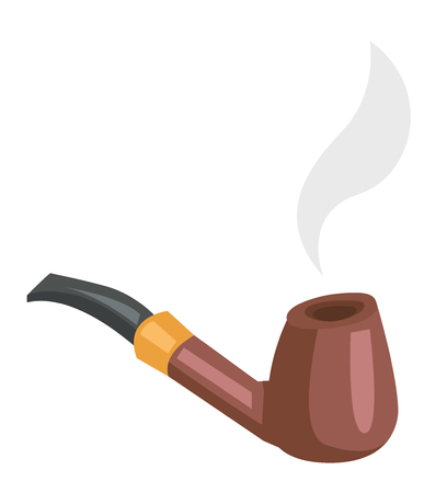 Tobacco smoking pipe with smoke vector cartoon illustration isolated on white background. Ilustrace