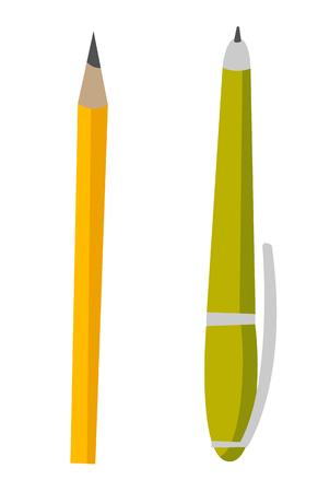 Groene pen en gele illustratie van het potlood vectorbeeldverhaal die op witte achtergrond wordt geïsoleerd. Stock Illustratie