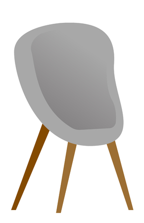 Grey modern comfortable chair for office and home vector cartoon illustration isolated on white background.