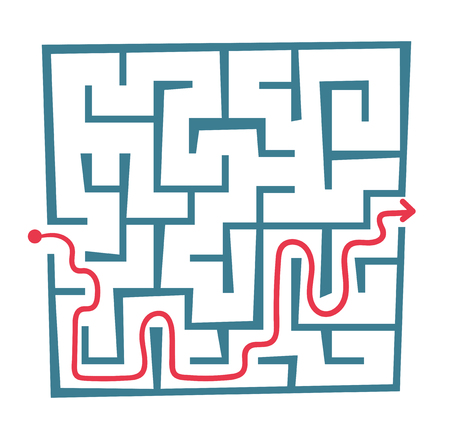 Square shaped labyrinth with entrance, exit and solution vector cartoon illustration isolated on white background.