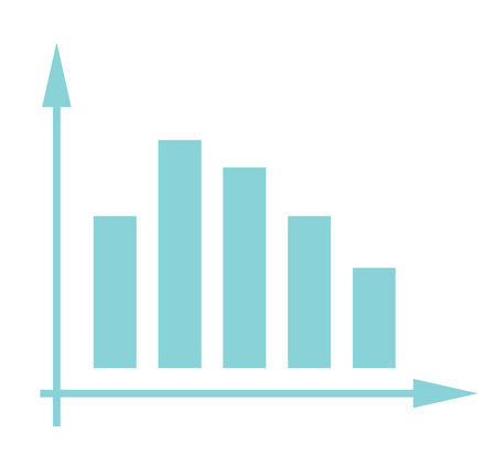 Volatile business bar chart in coordinate system vector cartoon illustration isolated on white background.
